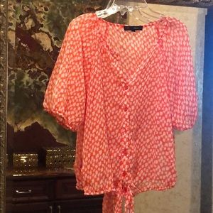 HeartSoul Orange and white blouse with buttons